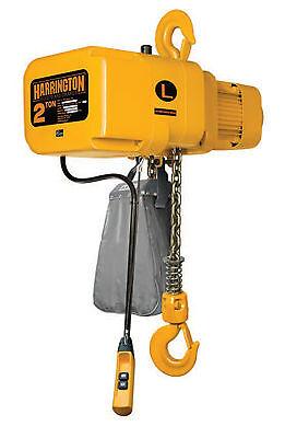 Harrington 1/2 Ton Electric Chain Hoist 10' Lift Ner Ner005l W/ Chain Cont.