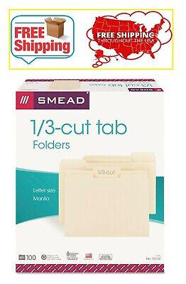 Smead 13 Cut Assorted Position Tab File Folders Manila Letter 100ct.