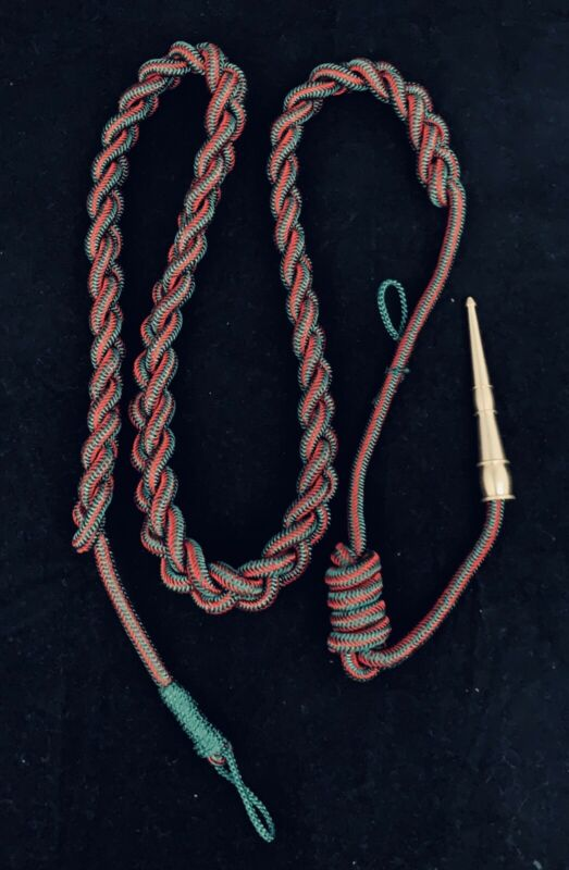 🌟US Army Marines WWII French Fourragere, Brass Tip Green & Red Shoulder Cord