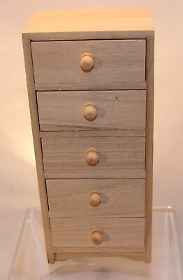 Unfinished Wood - 5 Drawer Chest - Great Size for use with 18