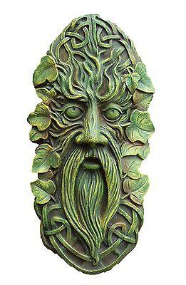 Celtic Face Garden Ornament Wall Plaque Green Gift