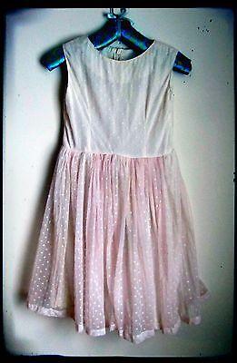 Vintage Handmade Girl's Pink Overlay Nylon Full Skirt Dress Size 10