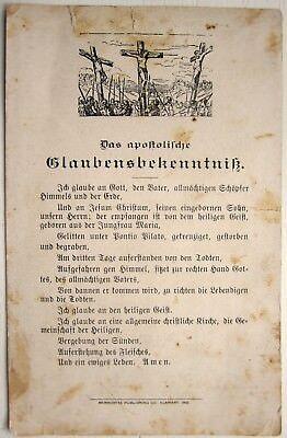 MENNONITE BROADSIDE, GERMAN HOLY CARD,  ENGRAVING OF CRUCIFIXION, FRAKTUR AMULET