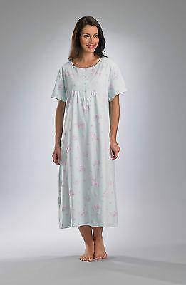 Ladies Slenderella Premium Quality Short Sleeve Nightie. 100% Jersey Cotton - Premium Quality Ladies Short