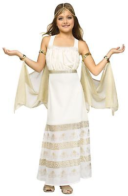 Golden Goddess Halloween Costume Girls Cleopatra Roman Gown Princess New ()