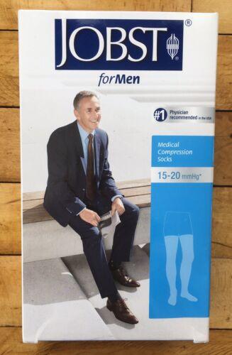 Jobst Compression Socks For Men 15-20 mmHg Black Thigh Mediu