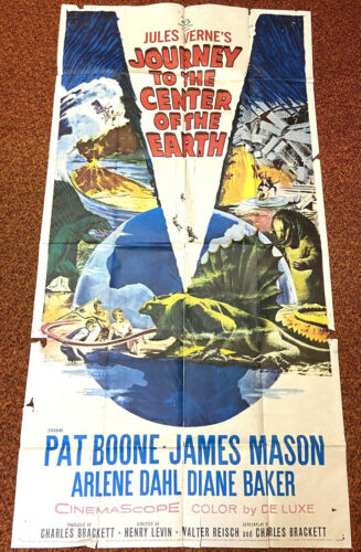 JOURNEY TO THE CENTER OF THE EARTH Vintage 1959 Sci-Fi Movie 3 SHEET FILM POSTER
