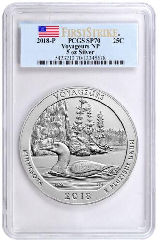 2018 Voyageurs 5 oz. Silver ATB Specimen Coin PCGS SP70 FS Flag Label SKU51793