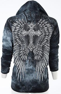 AFFLICTION Womens Hoodie Sweatshirt ZIP UP Jacket SACRIFICE Wings UFC Sinful $74