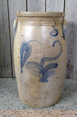 Antique 3 Gallon Salt Glaze Stoneware Butter Churn with Cobalt Flower Decoration