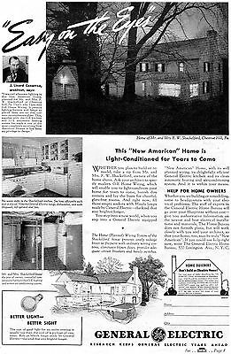 1938 Vintage Print Ad of GE General Electric Mazda Lamps & Appliances