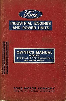 Ford E134 D172 Four Cylinder Engines Owners Manual