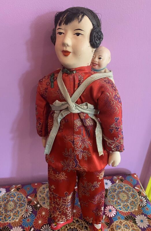 """Vintage Chinese Porcelain Mother Doll w Baby 12"""" (1968 Lot)"""
