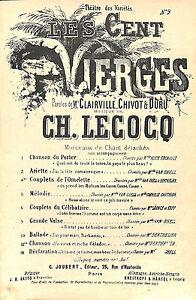 """PARTITION MUSIQUE CLAIRVILLE CHIVOT DURU / LECOCQ """" LES CENT VIERGES """" - France - Partition de 3 pages Format : 175 X 270 mm environ semble correctC 771 / 71020 - France"""
