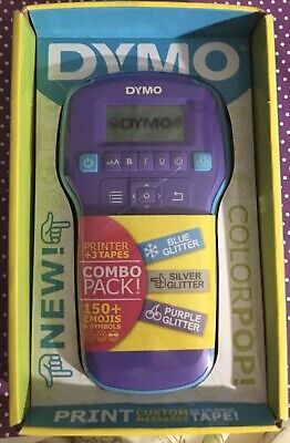 Dymo Color Pop Label Maker - Combo Pack Purple Blue Silver Glitter 150 Emojis
