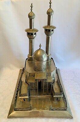"Vintage Middle Eastern Metal Brass Sculpture TAJ MAHAL 20x16x13"" Incense Candle"