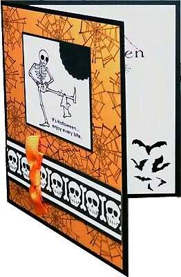 Funny Stampin Up Handmade Halloween Card Skulls And Skeleton With Dog](Funny Halloween Dogs)