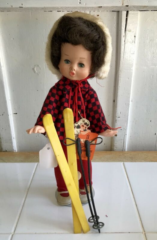 Stunning Vintage VHTF Pullan Peaches Doll Skier 1964 all original with tags RARE