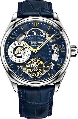 Stuhrling Men's Blue Skeleton Dual Time Silver Case AM PM Blue Leather Watch