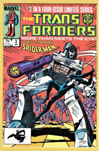 TRANSFORMERS #3 NEAR MINT+ (9.6) - WHITE PAGES *SPIDER-MAN APPEARANCE*