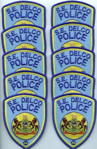 SOUTH EAST SE DELCO PENNSYLVANIA Trade Stock 10 Police Patches POLICE PATCH