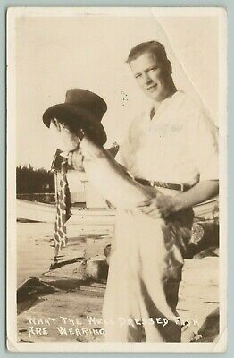 New 1930s Mens Fashion Ties Tobacco Michigan~Fantasy: Man Holds Well Dressed Fish~Top Hat & Tie~1937 RPPC $11.00 AT vintagedancer.com