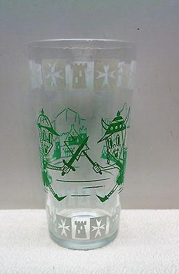 VINTAGE Hazel Atlas Glass 1950's Cartoon GREEN VIKINGS FANTASY TUMBLER