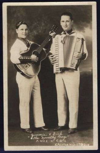 RPPC The Novelty Boys Jimmie and Dick KMOX CBS Autographed 1935 Real Photo Card