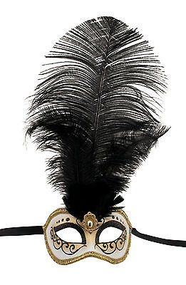 Mask from Venice Colombine in Feathers Ostrich Black-Mask Venetian - 1351 V78