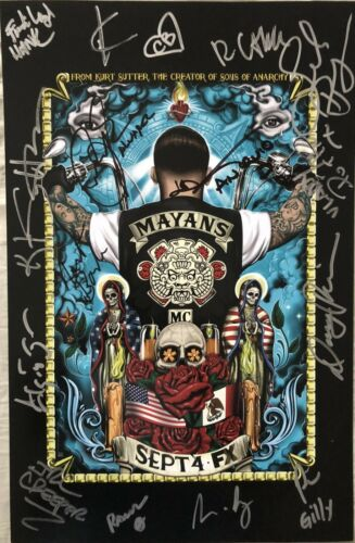 Mayans MC cast signed autographed 2018 SDCC poster Bolger Irby JD Pardo Pino +12
