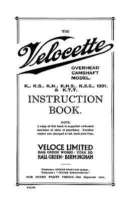 (1398) 1931 Velocette K KS KN KNS KSS KTT instruction book