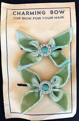 Vintage Hair Pins -1950's Pair of Sage Green Velvet