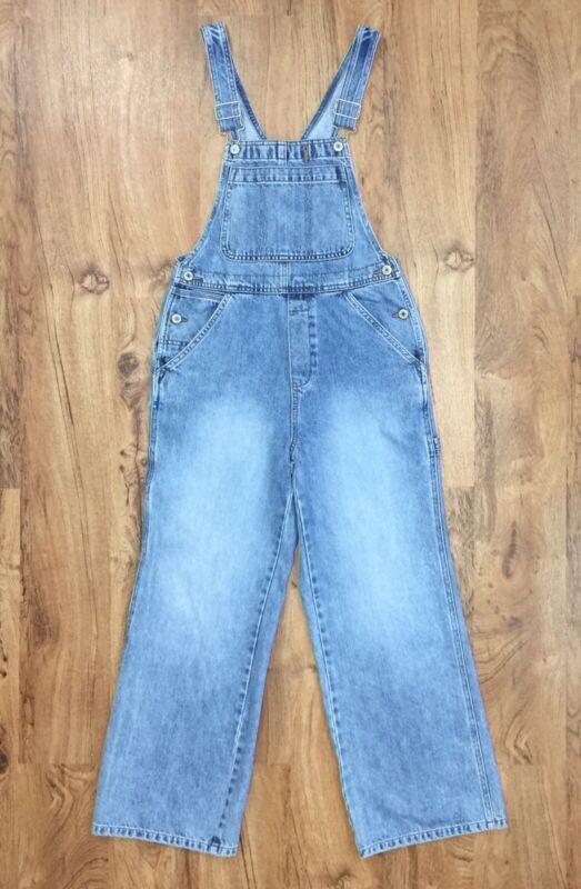 Gap Kids Sz XL 12 Distressed Blue Denim Bib Overall 100% Cotton Wide Leg XL/12