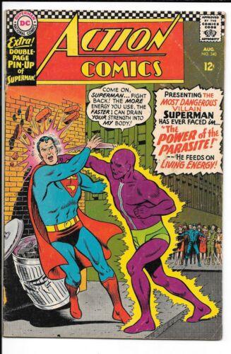ACTION COMICS #340 --- 1ST APP PARASITE!! KEY!! CURT SWAN!! DC!! Aug 1966! VG/F!