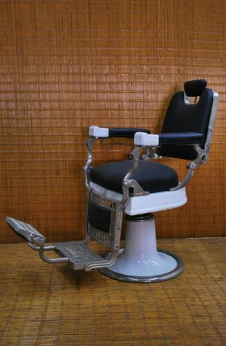 ANTIQUE / VINTAGE JAPANESE BARBER CHAIR / New Upholstery, New Nickel Plating