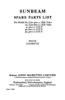 (1130) 1932 Sunbeam parts book