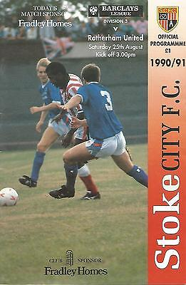 Stoke City v Rotherham United - Div 3 - 25/8/1990 - Football Programme