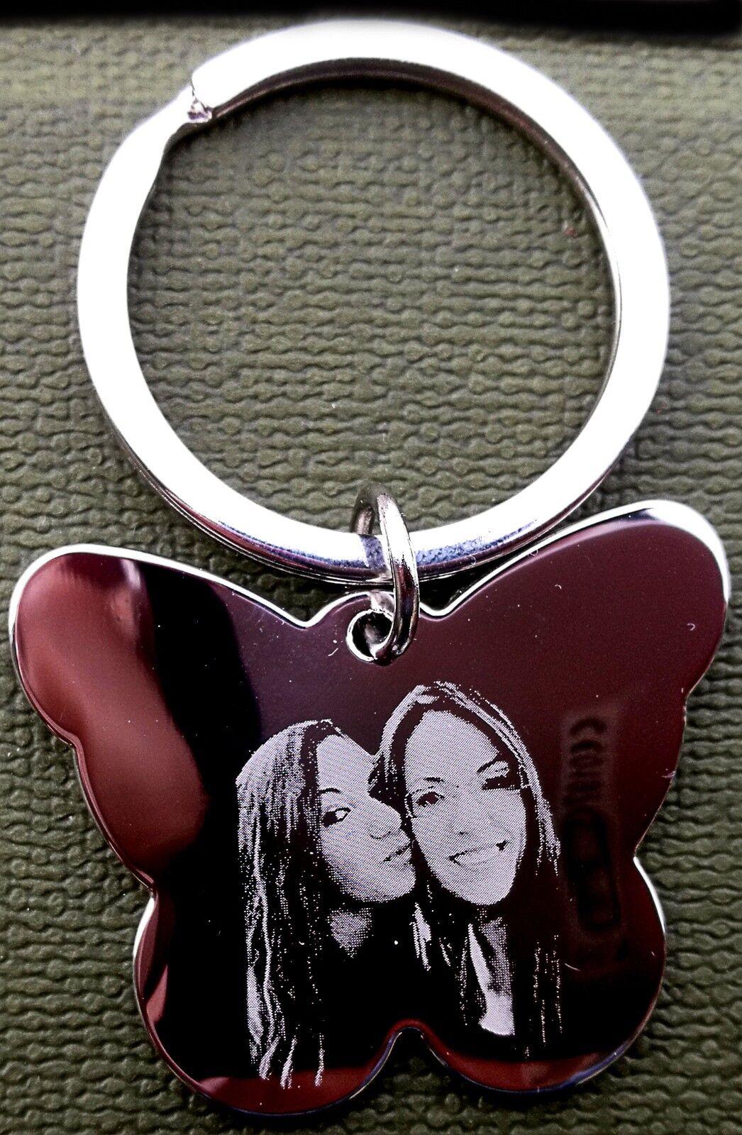 Portachiavi farfalla personalizzato inciso con Foto / testo