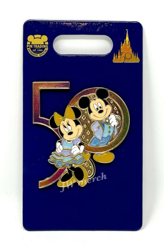Walt Disney World 50th Anniversary Mickey Mouse And Minnie Mouse Pin NEW