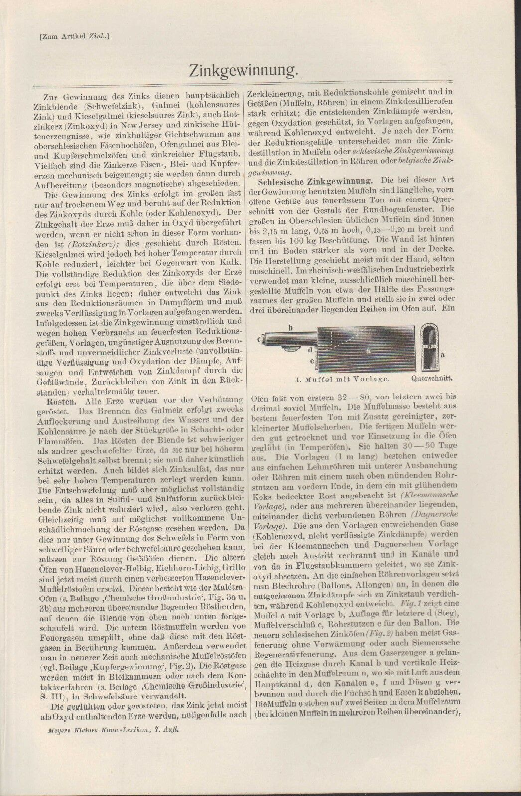Lithografien 1910: Zinkgewinnung. Zink Muffel Zinkofen