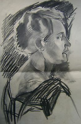 FIGURE STUDY A HEAD STUDY OF A LADY FACING RIGHT BLACK CHALK ENG SCH00L C1920