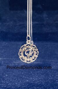 Sterling silver initial letter pendant & sterling silver chain