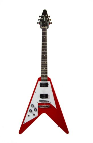 LEFT HANDED Red Quincy Flying V Electric Guitar Classic Shape Design lefty solid