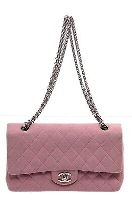 Chanel Vintage Pink Classic Medium Jersey Double Flap Bag