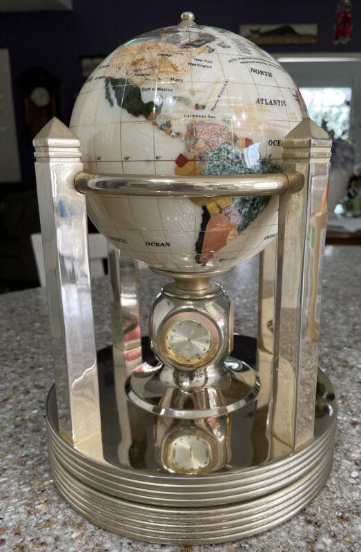 Beautiful Mother Of Pearl & Gemstone Rotating Globe w/3 Clocks, Thermometer