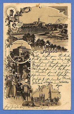 Alte AK Postkarte Deutschland   Halle (Saale) 1897 gelaufen mit Briefmarke 1889