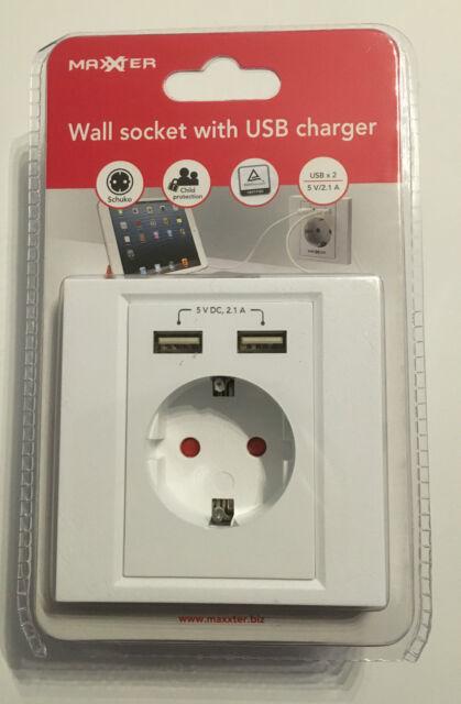 Maxxter Steckdose mit USB Anschluss, Schuko, Unterputz, mobile Geräte laden