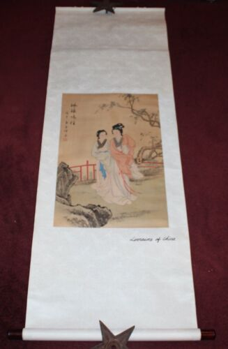 Vintage Chinese Scroll Lorraine Of China #3 Women Trees Colorful Signed Painted