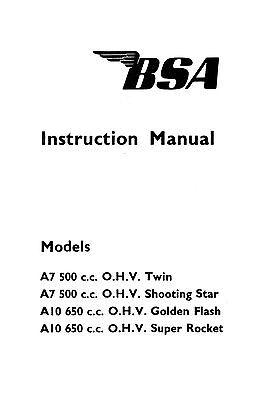 1961 BSA A7 A10 instruction book