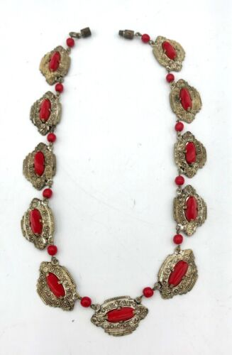 """Mid-Century Small 12 1/2"""" Red Glass Ornate Link Necklace"""